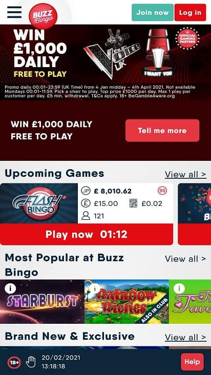 Buzz bingo home page
