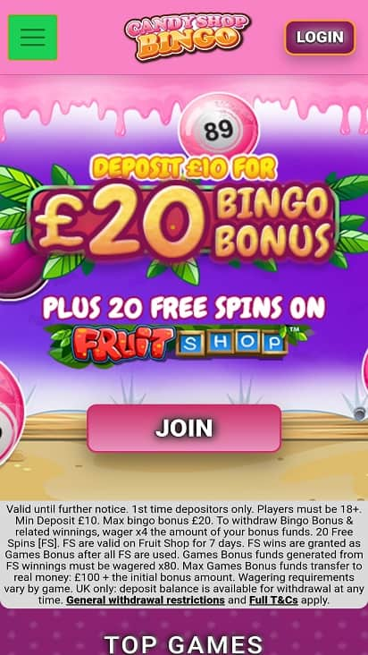 Candy shop bingo promotions page