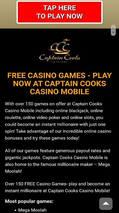 Captain cooks casino games page