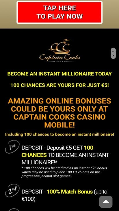 Captain cooks casino promotions page