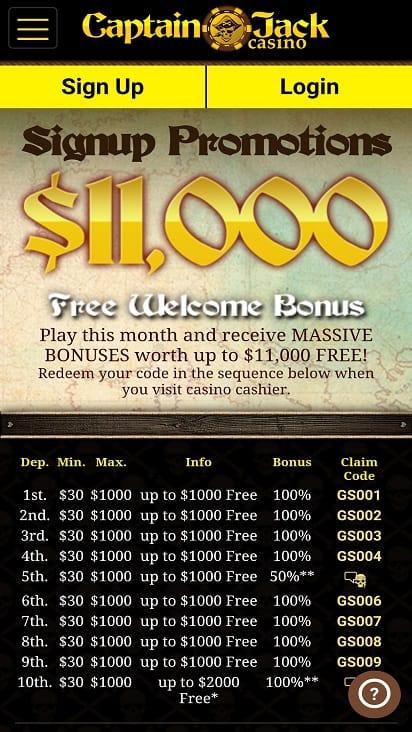 Captain jack casino promotions page