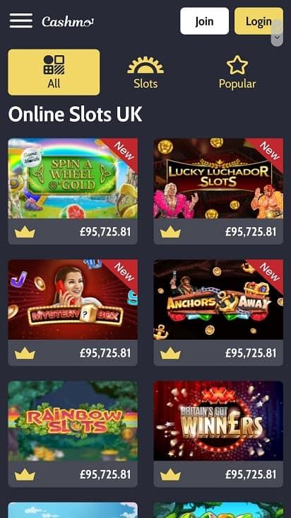 Cashmo games page