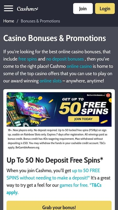 Cashmo promotions page