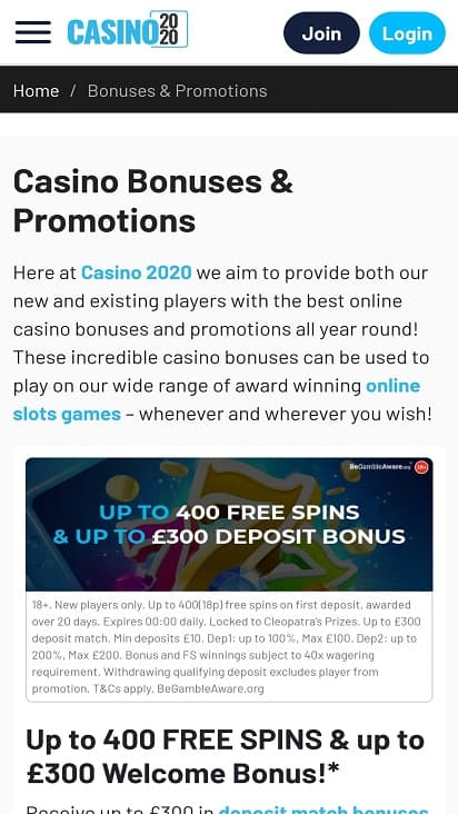 Casino 2020 Promotions page