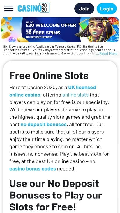 Casino 2020 games page
