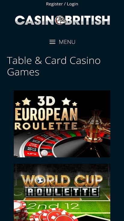 Casino British Games page