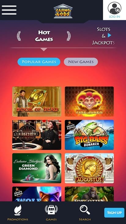 Casino Gods games page