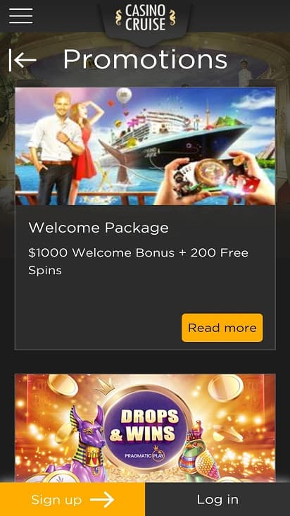 Casino cruise promotions page