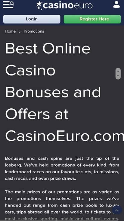 Casino euro promotions page