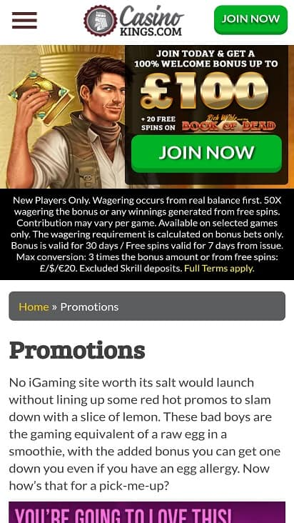 Casino kings promotions page