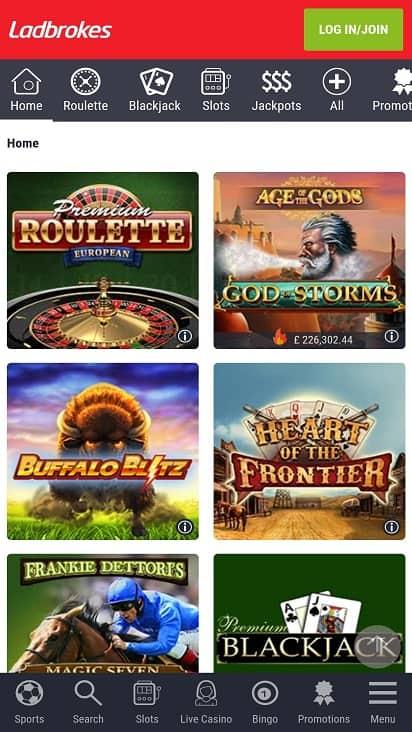 Casino ladbrokes games page