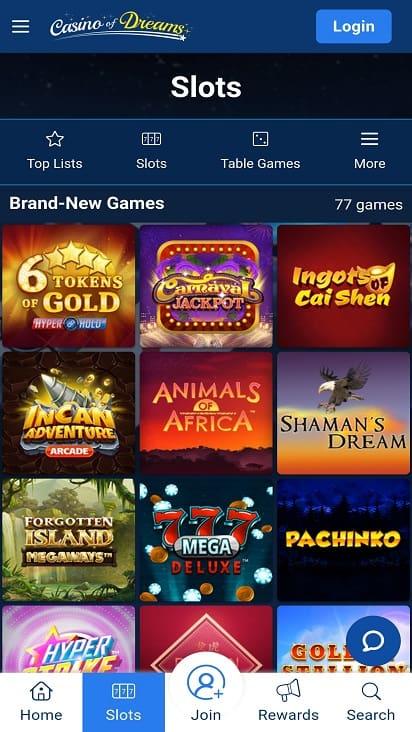 Casino of dreams games page