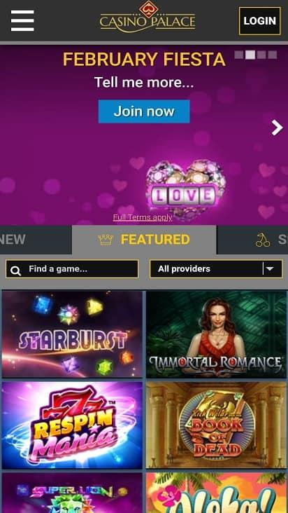 Casino palace home page