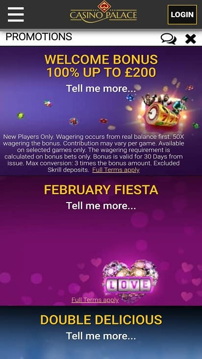 Casino palace promotions page