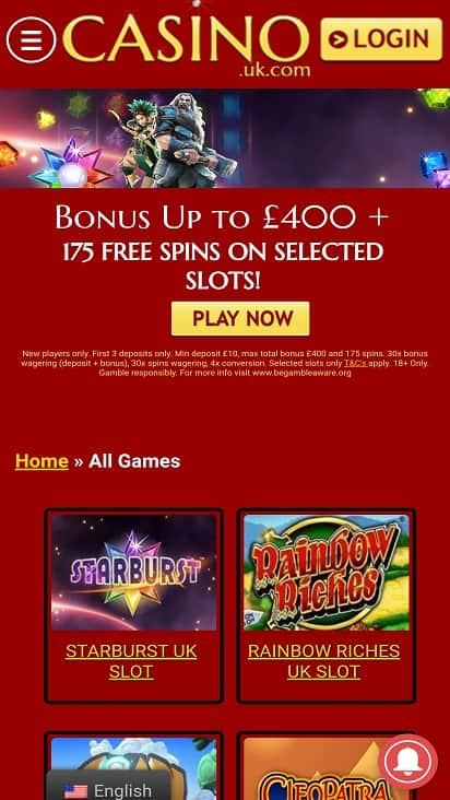 Casino uk games page