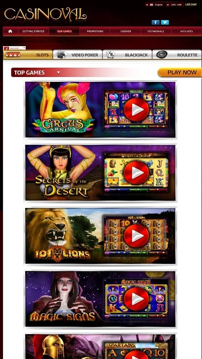 Casino val games page