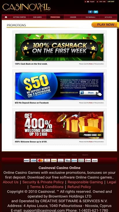Casino val promotions page