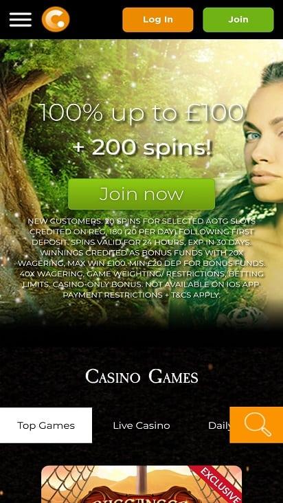 Casino.com home page