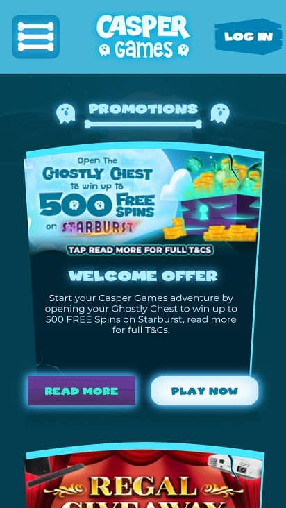 Casper games promotions page
