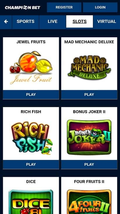 Champion bet games page