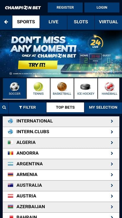 Champion bet home page