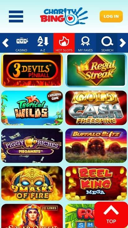 Charity bingo games page