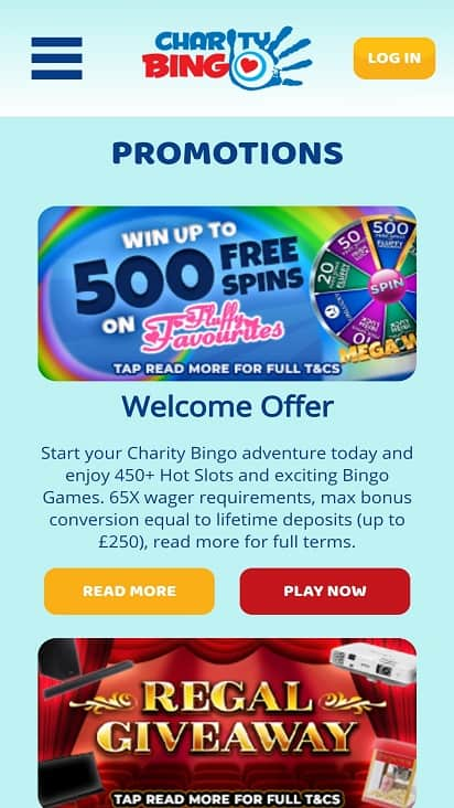 Charity bingo promotions page