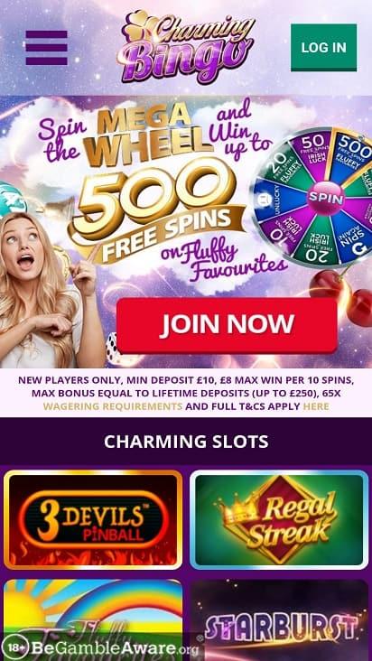 Charming bingo home page