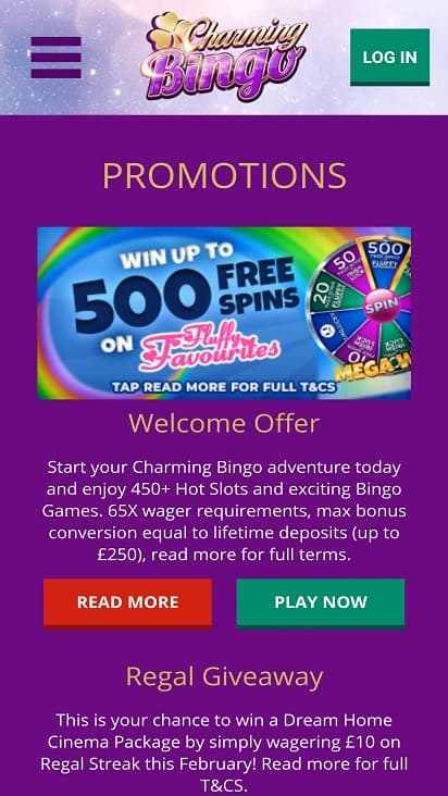 Charming bingo promotions page