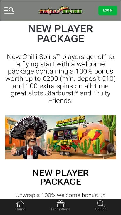 Chilli spins promotions page