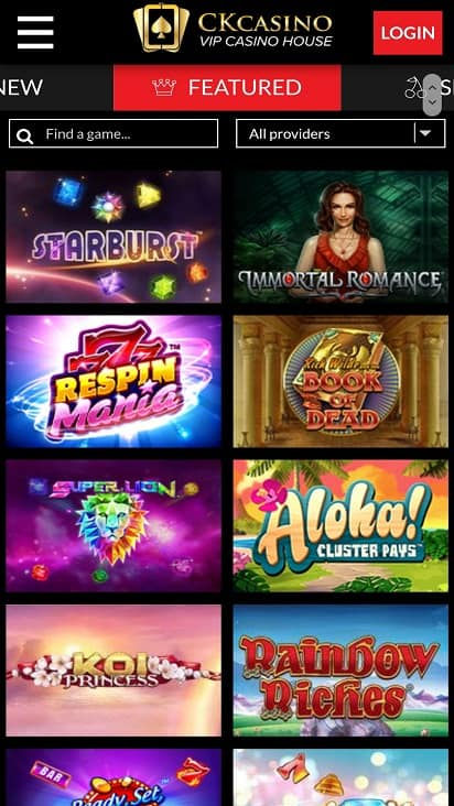 Ck casino games page