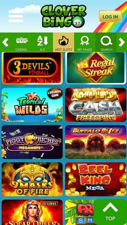 Clover bingo Games page