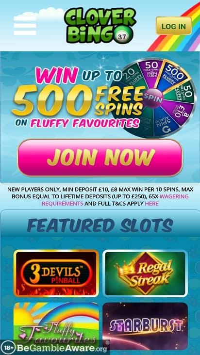 Clover bingo Home page
