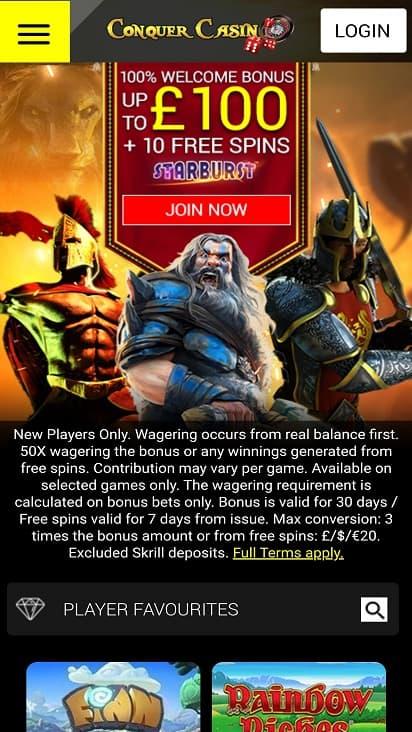 Conquer casino home page