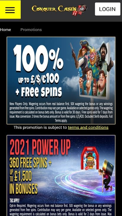 Conquer casino promotions page
