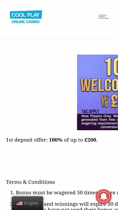 Cool play casino promotions page