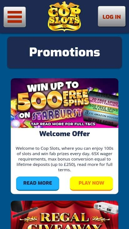 Cop slots promotions page