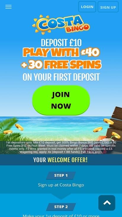 Costa bingo Home page