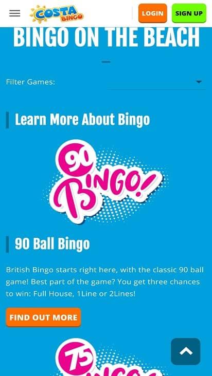 Costa bingo games page