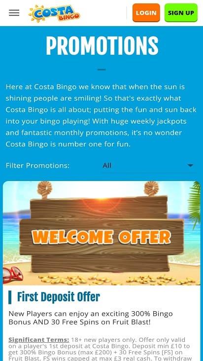 Costa bingo promotions page