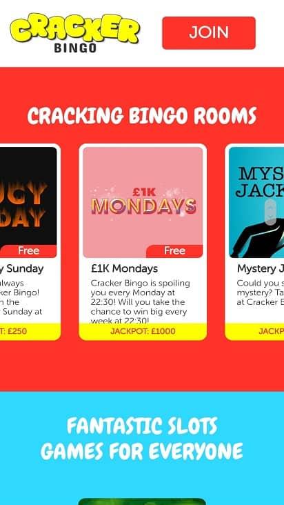 Cracker bingo games page