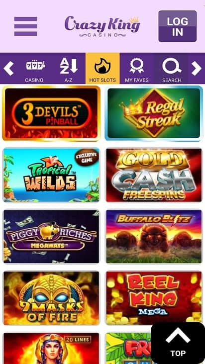 Crazy king casino Games page