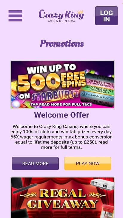 Crazy king casino promotions page