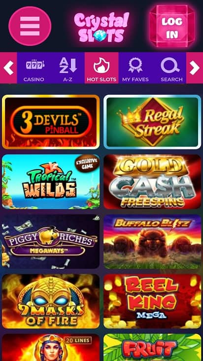 Crystal slots games page