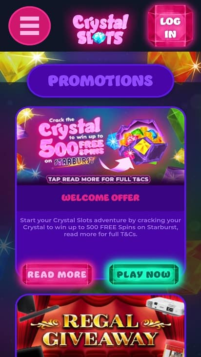 Crystal slots promotions page