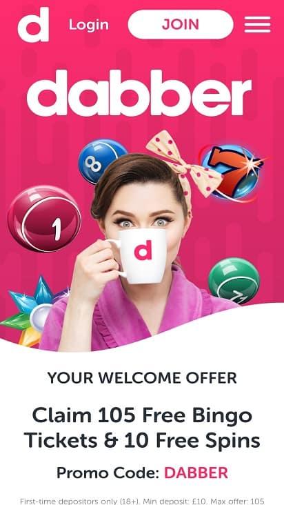 Dabber bingo home page
