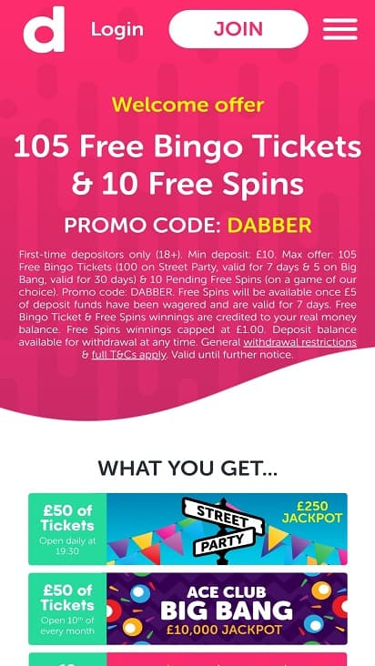 Dabber bingo promotions page