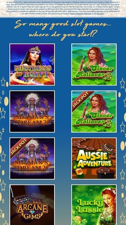 Dazzle bingo games page