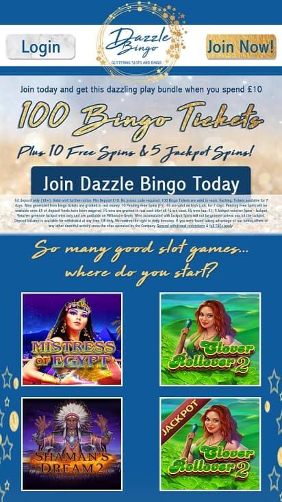Dazzle bingo home page