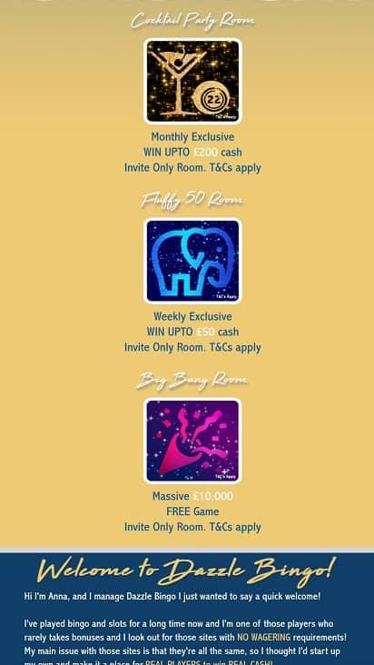 Dazzle bingo promotions page